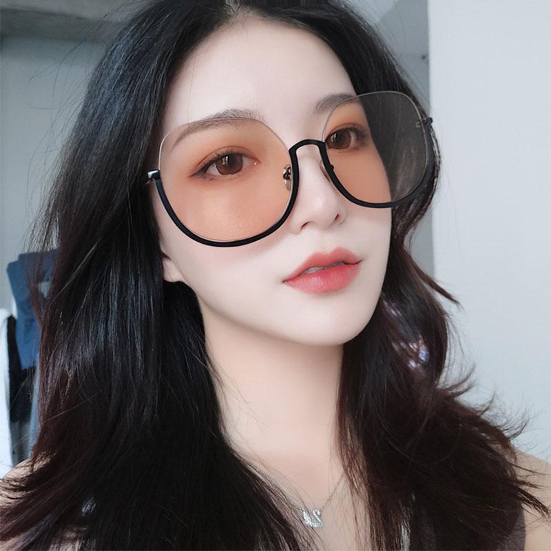 De moda, gafas de sol de Marco medio de gafas de sol de las mujeres hombres naranja Rosa Negro lente de marco de gafas Oval gafas de sol UV400