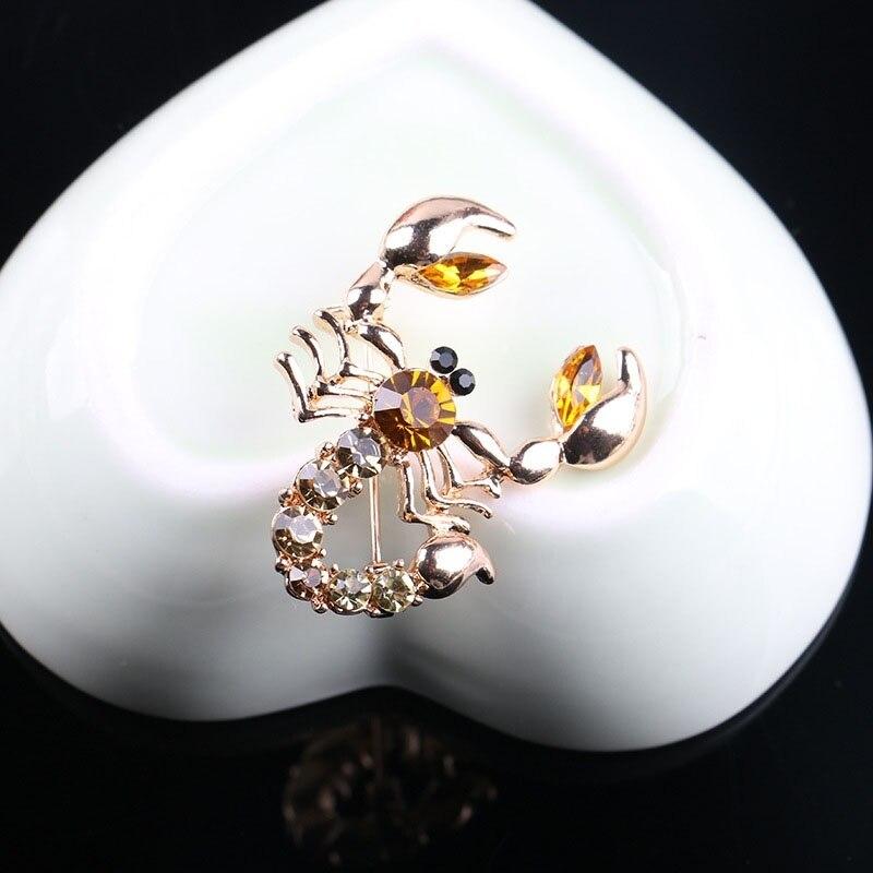 יפה סיכת צעיף גביש ריינסטון סיכת סיכת תכשיטי הכלה החתונה Crystal בעלי החיים עקרב סיכת פין