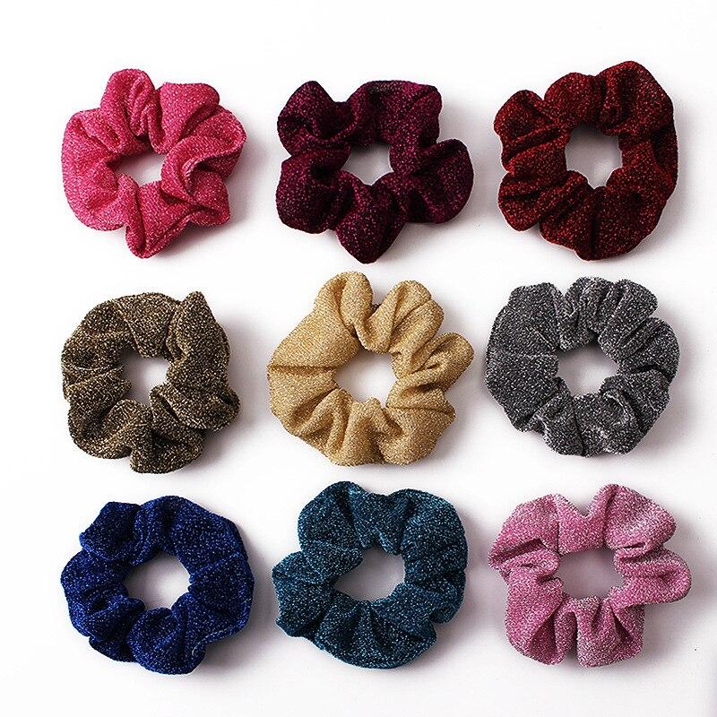 Scrunchies, cuerda para el cabello, hilo de seda dorada, Scrunchies, accesorios para el cabello para mujeres, bandas elásticas para el cabello, coletas elegantes para chicas