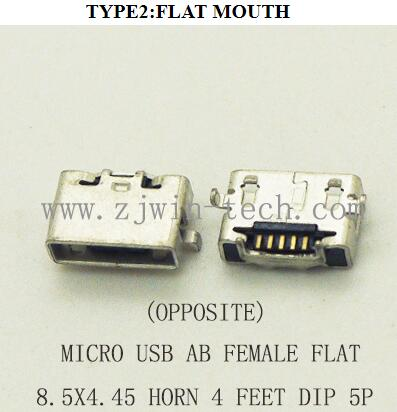 10 unids/lote Conector Micro USB tipo AB hembra Jack cola de teléfono carga 8,5x4,45 Oppoisite cuerno DIP boca plana