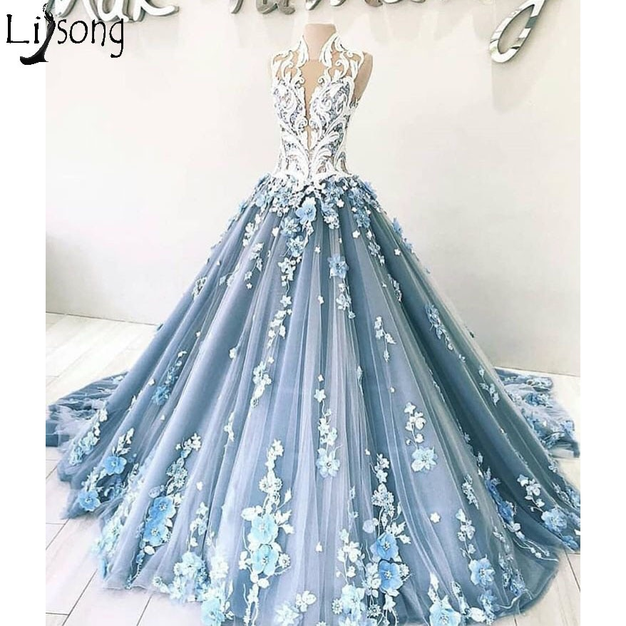 New Arrival Luxury Blue Prom Dresses Elegant 3D Floral Appliques Ball Gown Evening Dress Dubai Arabic Formal Wear Robe De Soiree
