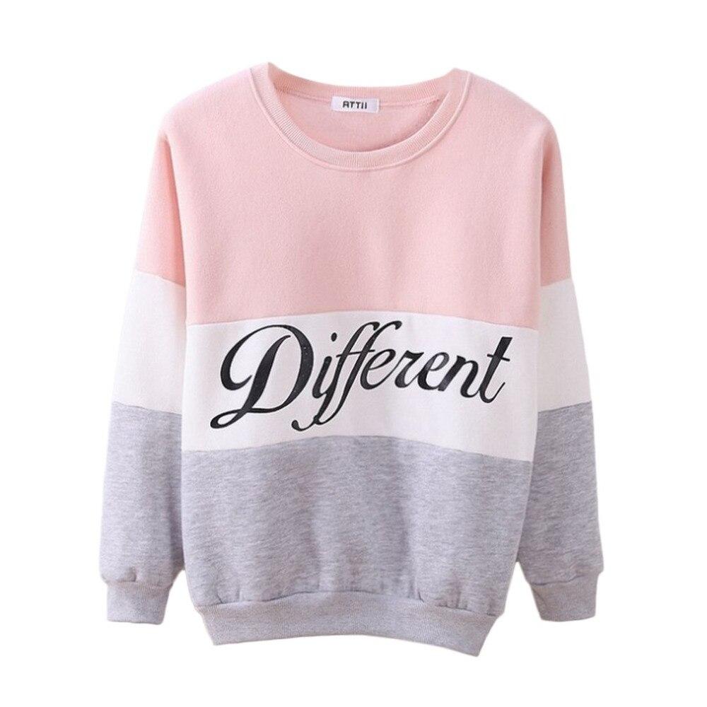Carta diferente impresso feminino fleeve hoodies primavera manga longa camisola retalhos o-pescoço pullovers sudaderas outono inverno