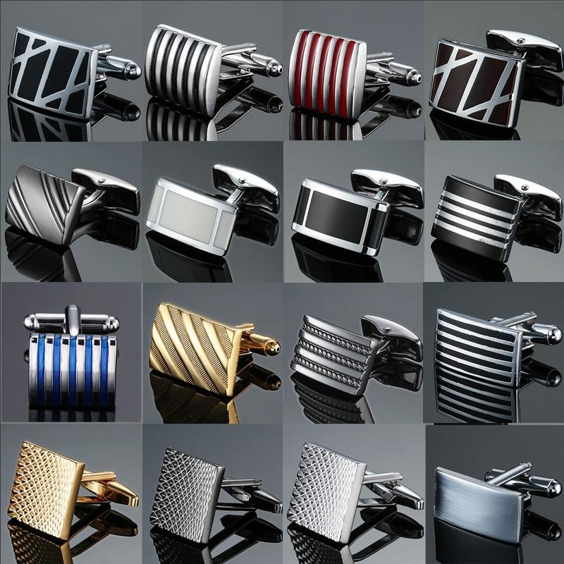 Copper quality enamel square stripes gold silvery black flower cufflinks Top brand men's French shir