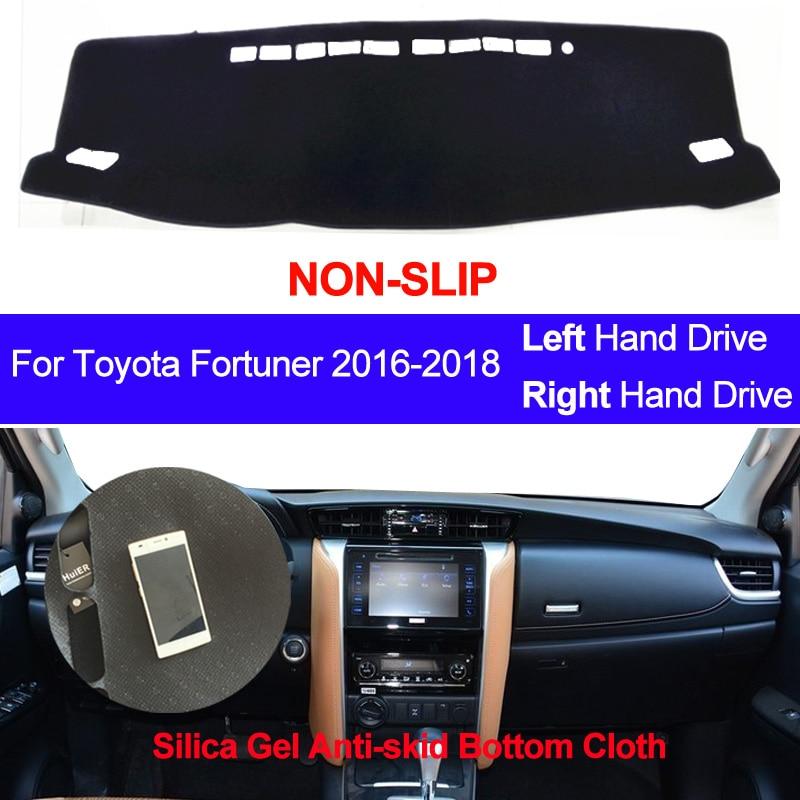 Cubierta para salpicadero de coche, alfombra antideslizante de silicona Anti-UV para Toyota Fortuner 2016 2017 2018, parasol, salpicadero, tablero, cubierta, almohadilla