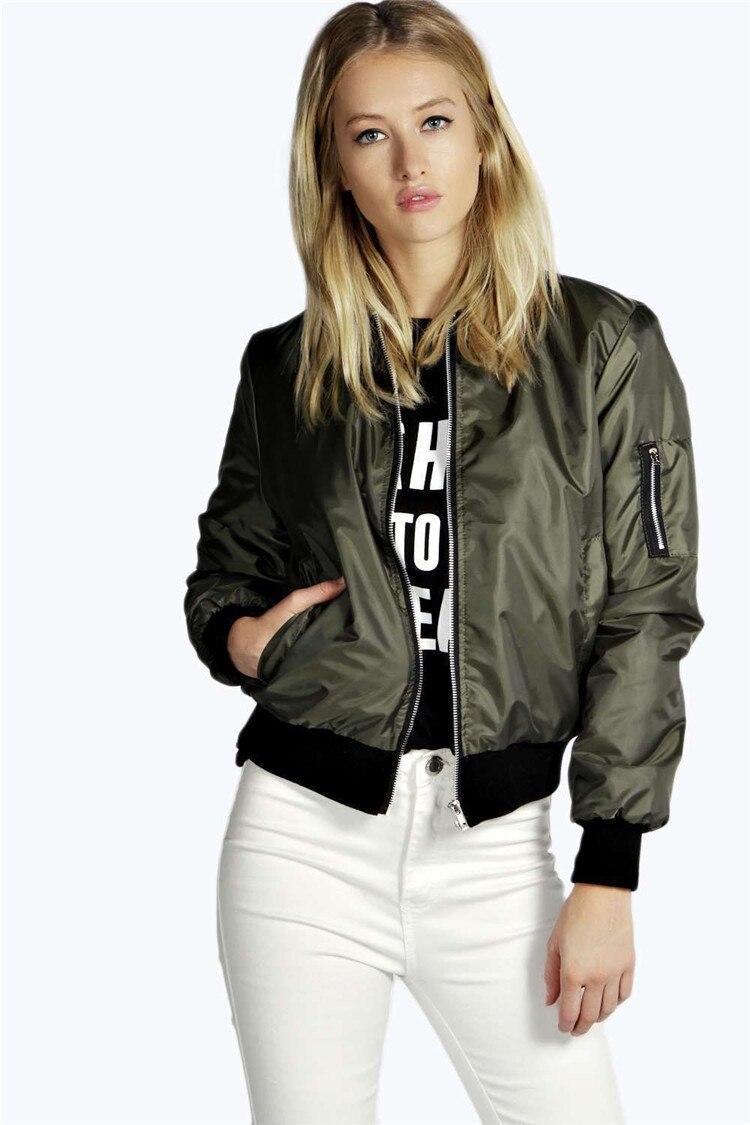 Nova cor sólida jaqueta feminina manga longa casacos básicos bombardeiro jaqueta casual zip manga comprida outwear feminino topos