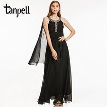 Tanpell nouvelle scoop robe de bal sexy noir sans manches étage longueur une ligne robes femmes graduation soirée perlée longue robe de bal