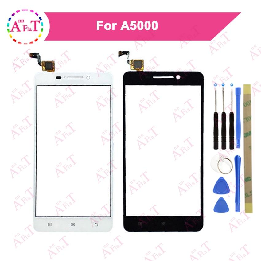 "5,0 ""para Lenovo A5000 Smartphone Digitalizador de pantalla táctil Sensor exterior Panel de lente de vidrio 3m pegamento gratis"