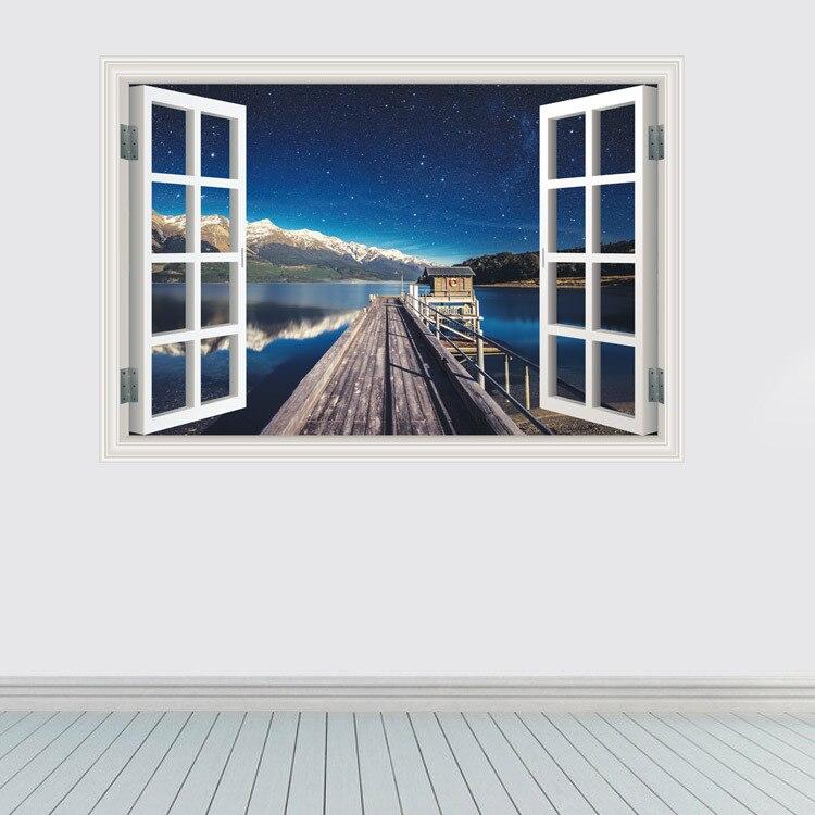 Adhesivo 3D estereoscópico con personalidad creativa a la moda, estrella de mar, ventanas falsas, decoración de fondo, Adhesivo de pared, Mural artístico de vinilo