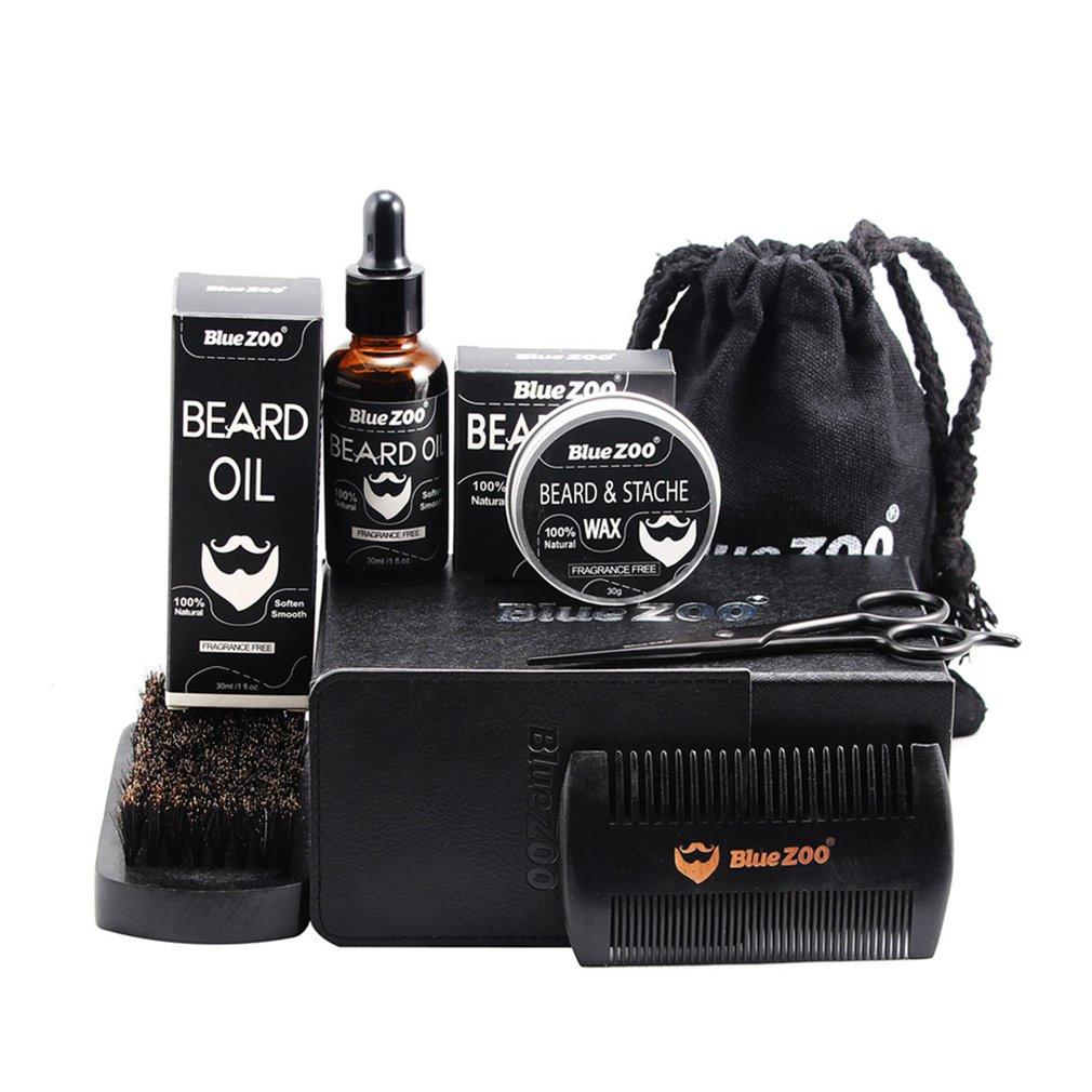 Черный набор для бороды Bluezoo, масло для бороды, воск для бороды, двухсторонняя расческа, сумка, маленькие ножницы, набор из 7 предметов