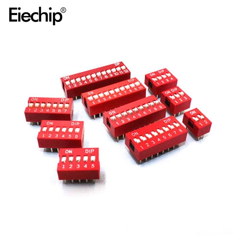 H026 10 шт. DIP переключатель Скользящий тип красный 2,54 мм шаг 2 ряда DIP Тумблеры 2p 3p 4p 5p 6p 8p 10p Бесплатная доставка