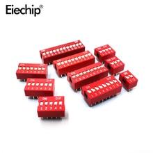 H026 10 stücke DIP Schalter Rutsche Typ Rot 2,54mm Pitch 2 Reihe DIP kippschalter 2p 3p 4p 5p 6p 8p 10p Kostenloser Versand