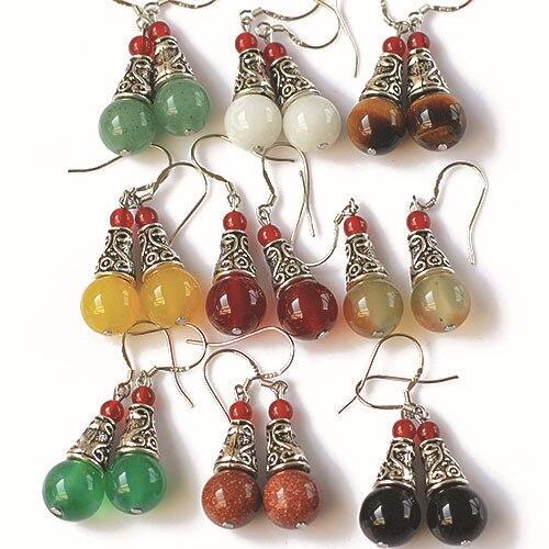 Pendientes de Gema Natural, pendientes tibetanos vintage para mujer, ónix rojo, joyería fina étnica, bisutería para mujer, regalo brincos 0415