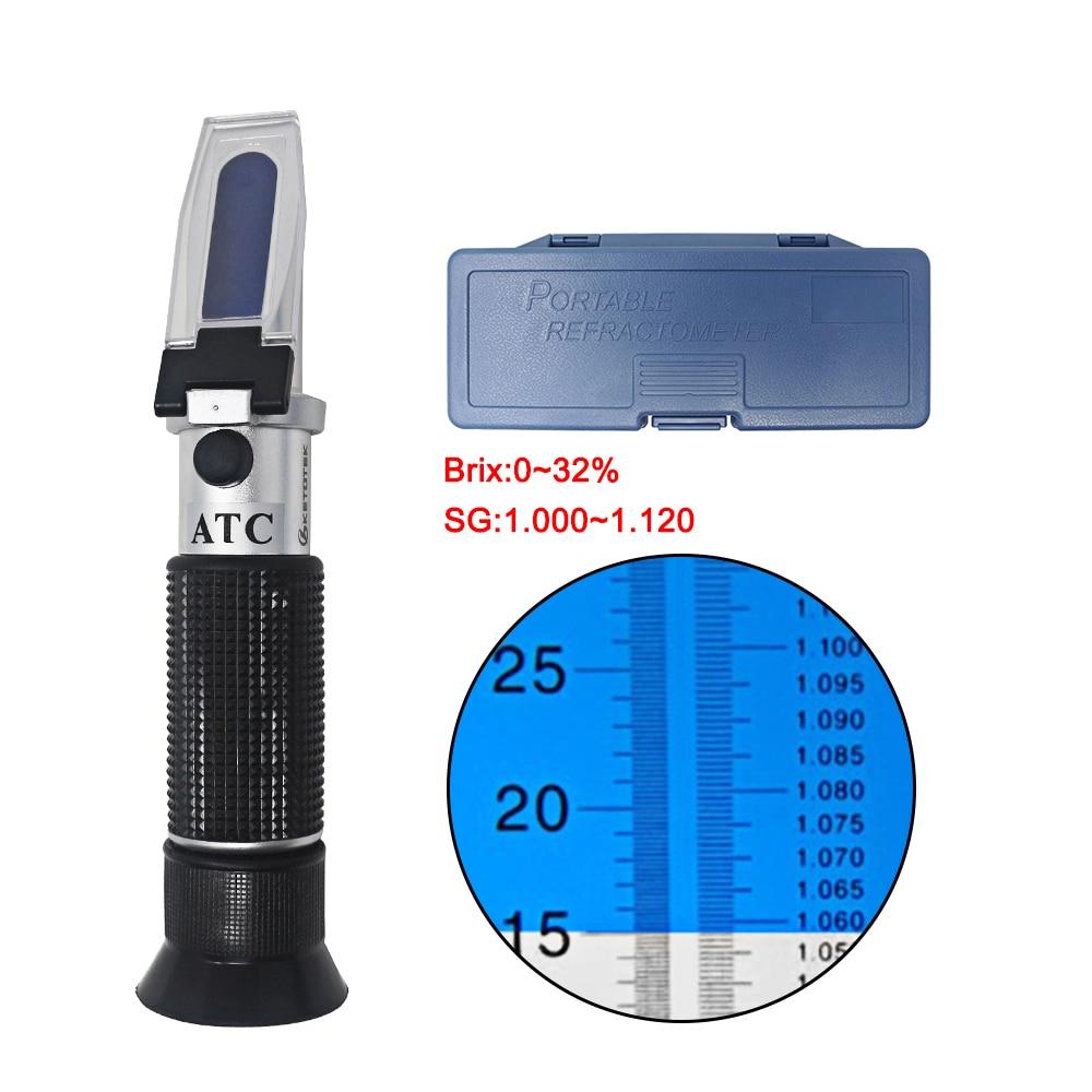Refratômetro brix, 0-32%, refratômetro, cerveja, atc, medição de grau, mosto sg, álcool, 1.000-1.120