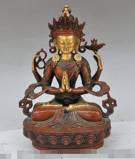 "S3307 12 ""tíbet budismo lotus 4 Brazos Chenrezig bronce dorado Kwan-yin Bodhisattva estatua"