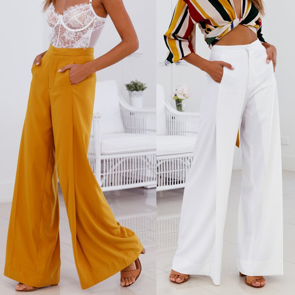 Pantalones largos informales sueltos en amarillo y blanco para mujer, pantalones elegantes sexys de pierna ancha, pantalones de cintura alta con bolsillos para oficina, pantalón femenino con cremallera