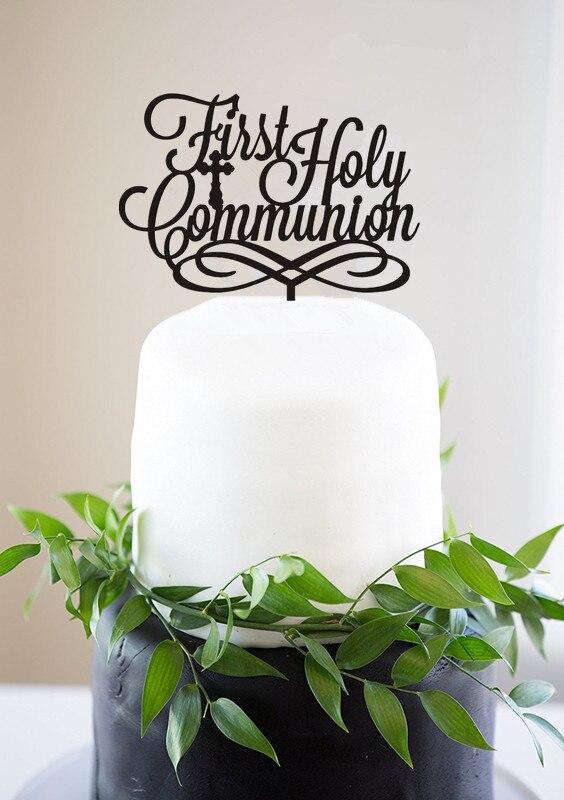 Первое Святое Причастие торт Топпер для крещения ребенка акриловый религиозный центр девочка мальчик торт топперы Золотой Серебряный торт...