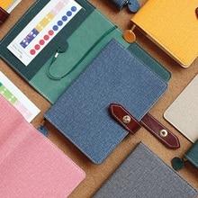 Harphia غطاء خفيف دفتر بو حزام جلد زر مخطط السفر مجلة Kawaii لطيف Filofax منظم جدول A5 A6 محدودة
