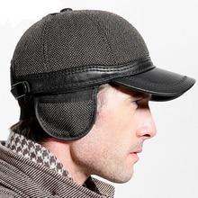 2018 New Winter Warm Ear Tab Leather Baseball Cap High Quality Middle Aged Men's Hats Fleece Velvet PU Adjustable Caps
