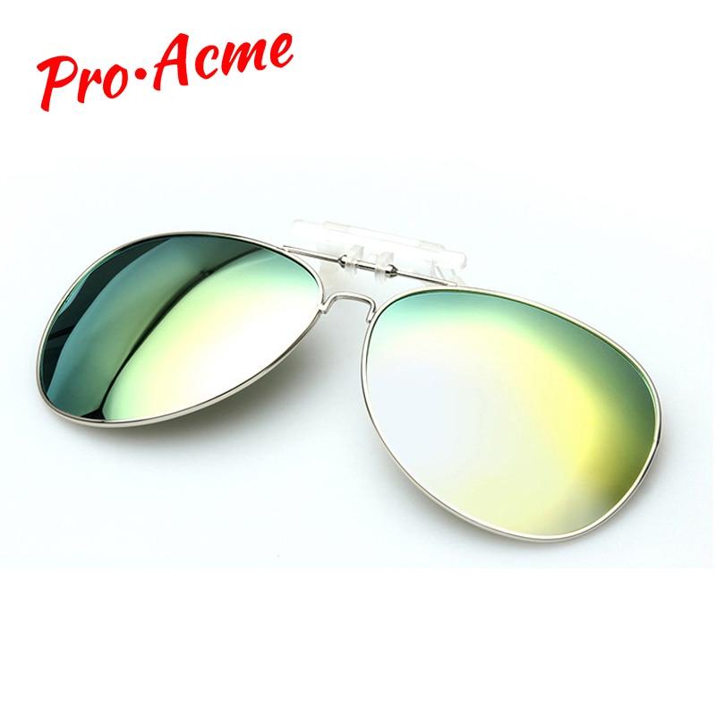 Pro Acme-lunettes de soleil à Clip pour hommes   Verres de Vision du jour et de la nuit, revêtement miroir, lunettes de soleil pour femmes, CC0131