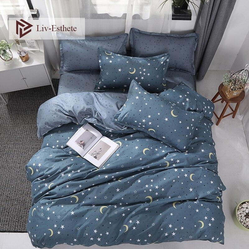 Liv-Esthete 2020 New Wholes Stars Moon Bedding Set Double Queen King Bed Linen Soft Duvet Cover Flat Sheet Pillowcase For Adult
