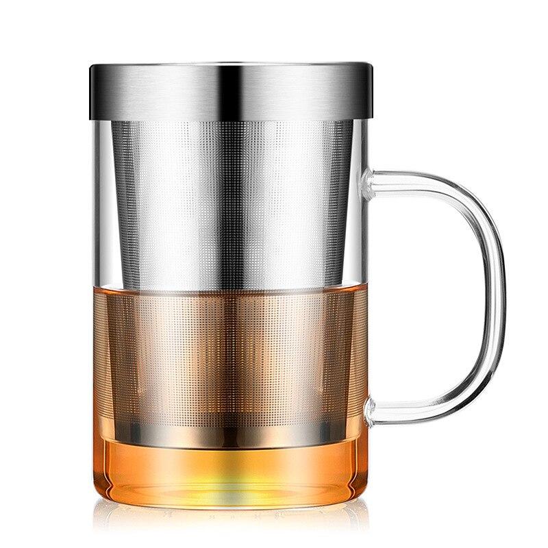 Taza de viaje resistente al calor de 500ml para Infusor de té con tapa de acero inoxidable taza de café vaso de cocina resistente al calor grande