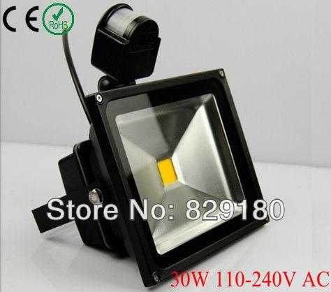 30 W PIR detective LED Sensor de luz de inundación al aire libre negro reflector IP65 AC 85-265 V
