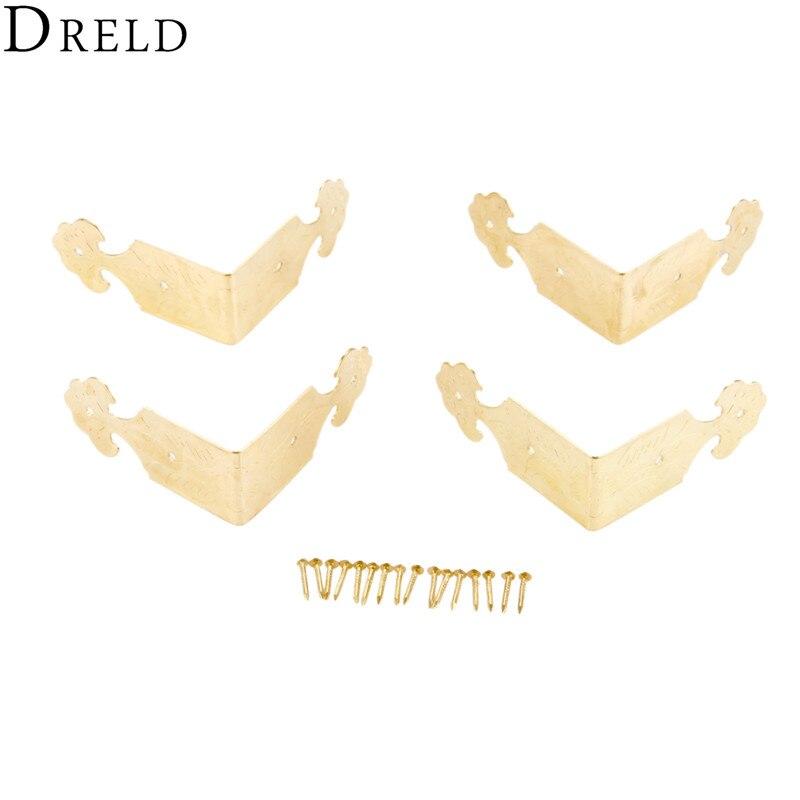 DRELD 4 Uds 46*22mm antiguo soporte de esquina dorado caja de madera pies pata protector de esquina decorativo soporte muebles artesanales Hardware