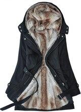 Livraison gratuite 2014 fausse fourrure femmes à capuche dames longue veste hiver chaud épais coton manteau vêtements Parkas hiver coût s-3xl