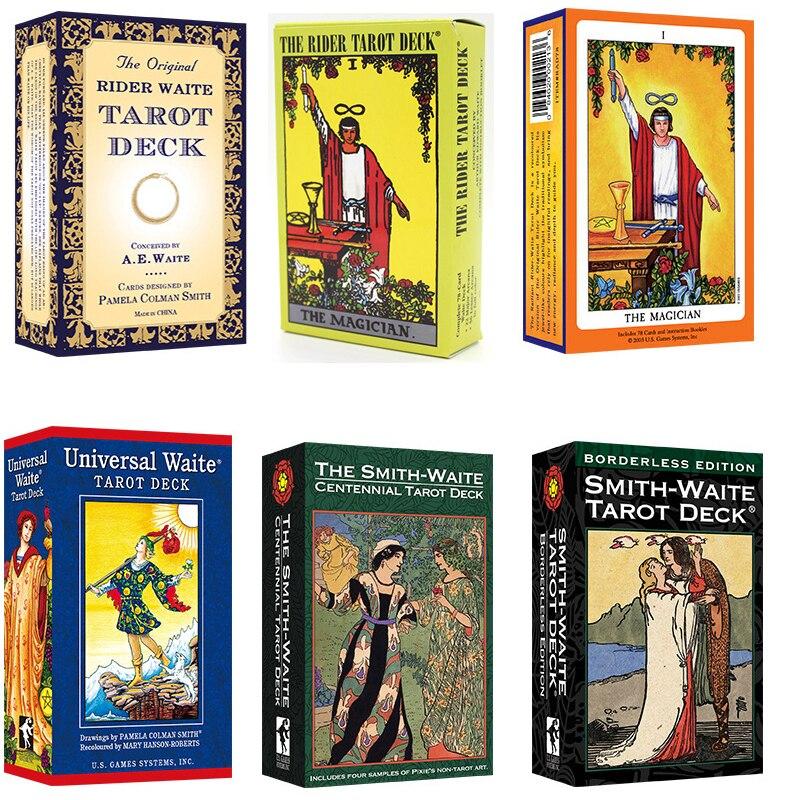 Juego completo de cartas del Tarot inglés The Smith-Waite, 6 tipos, con manual en inglés, instrucciones de Smith Waite, juego de mesa de Tarot