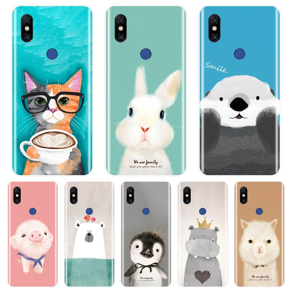 TPU Pink Pig Cat Bear Rabbit Alpaca Back Cover For Xiaomi Mi Note Mix 1 2 2S 3 Soft Silicone Phone Case For Xiaomi Mi Max 1 2 3