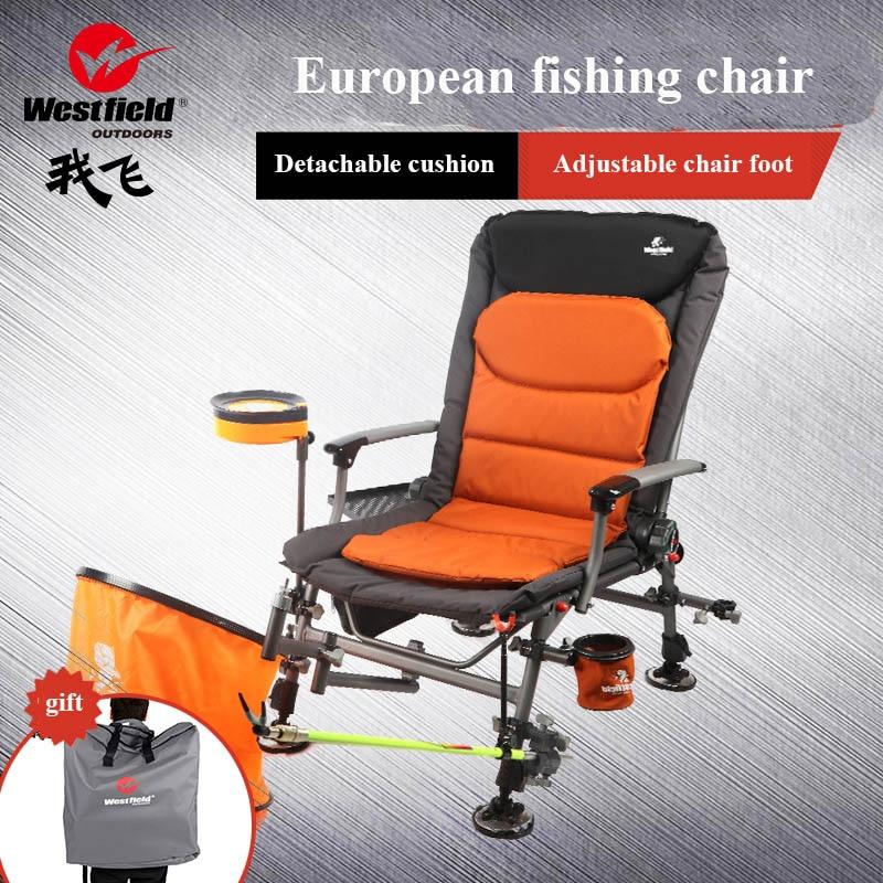 Nuevo europeo Silla de pesca plegable multifunción reclinable para dormir, silla de pesca salvaje, silla de pesca para uso en cuatro estaciones