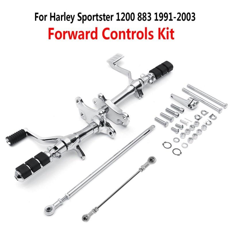 أوتاد التحكم الأمامي من الكروم للدراجات النارية ورافعات الربط لـ Harley Sportster XL883 1200 1991-2003