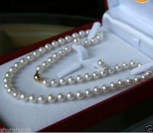 A0503 Noble 8-9 MM collar de perlas cultivadas + pendiente de agua salada 22 pulgadas chapado en oro 14KGP envío Rápido + (0430)