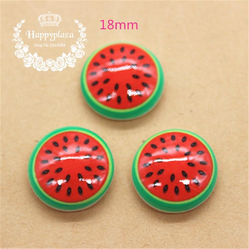 20 piezas Kawaii simulación de fruta sandía redonda cabujón de resina parte posterior plana comida, suministros de arte, de decoración del arte DIY 18mm