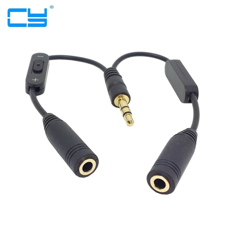 5 uds/lote Preto 3,5mm Macho Estereo para Duplo 3,5mm Feminino de auriculares de Audio Y Splitter Cabo com Interruptor de volumen