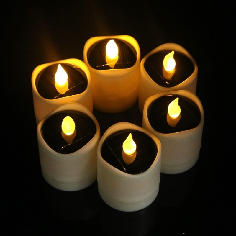 Vela con energía Solar Led luz de noche amarillo parpadeo lámpara de té impermeable para Festival boda decoración romántica luz de noche