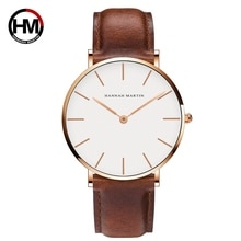 Brown High Quality Dial Quartz Watch Men Leather Waterproof Wristwatch Women Lover Fashion Japan Male Quartz Watch Movement