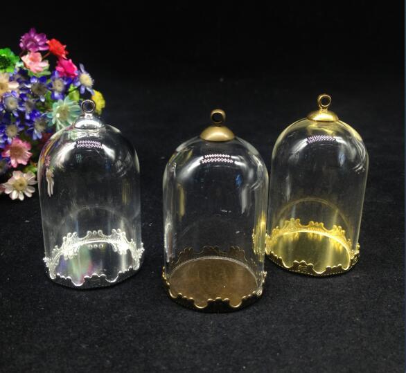 Frascos de campana transparente de 38x25mm con forma de tubo de cristal y forma de globo, juego de tapas para bandeja de flores, colgante de frasco de cristal hecho a mano, hallazgo de jarrón de cristal vacío