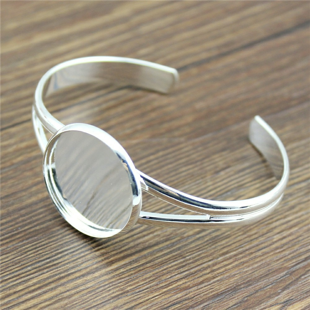 1 Uds. 6 estilos para cabujón de cristal de 25mm brillante plateado ajustable Base de ajuste de brazalete accesorios de joyería