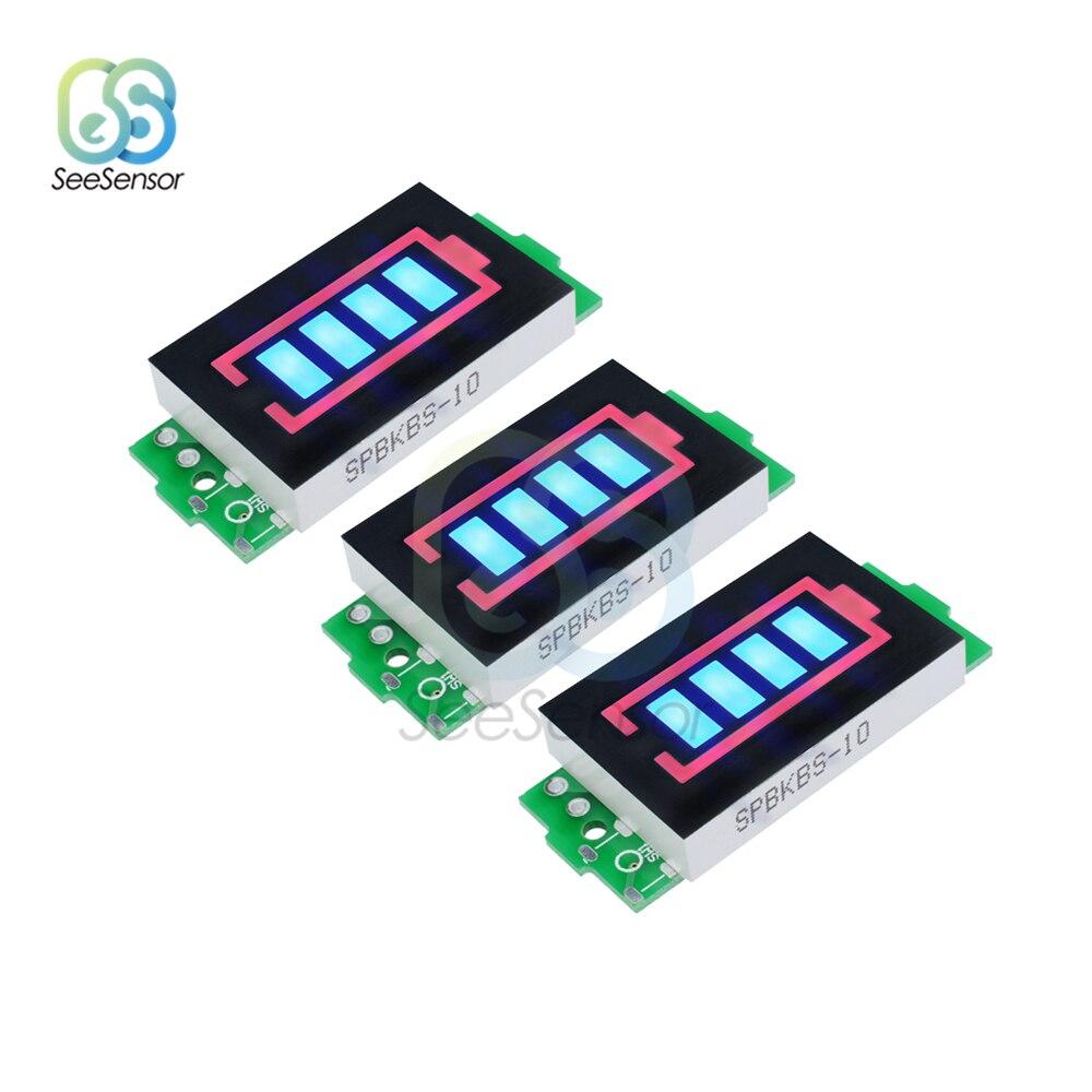 3Pcs 12.6V 3S Li-po Li-ion Lithium Battery Capacity Indicator Module Blue Display Electric Vehicle Battery Power Tester