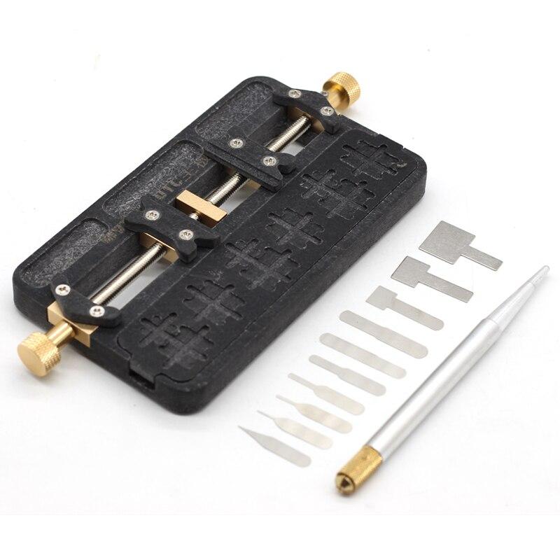 Accesorio Universal de teléfono PCB IC Chip placa base Jig soporte de placa de mantenimiento molde para soldadura + Reparación de circuito integrado herramienta de cuchilla delgada