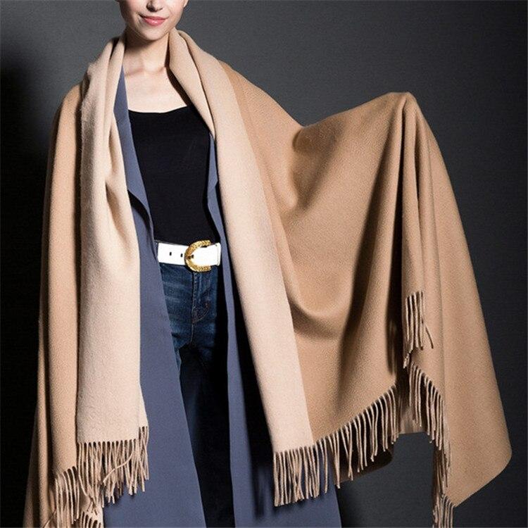super large size 100%cashmere women thick blanket scarfs shawl pashmina double sided color long tassel 135x220cm
