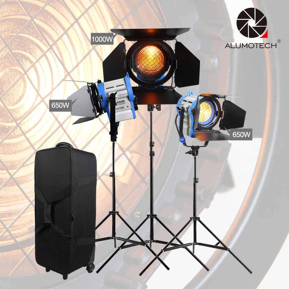 ALUMOTECH As ARRI Dimmer incorporado 650WX2 + 1000W Fresnel tungsteno punto luz + funda + StandX3 para estudio de película video fotografía