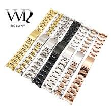 Correa de reloj Rolamy 13 17 19 20mm, venta al por mayor, 316L Tono de acero inoxidable, oro rosa, plata, correa de reloj, pulsera Oyster para Dayjust