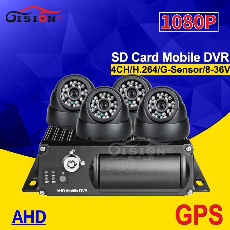 GPS SD 4CH 1080P vehículo móvil Dvr con 4 Uds interior plástico Cámara Dom 256G almacenamiento Dual SD Video Mdvr I/O alarma para autobús
