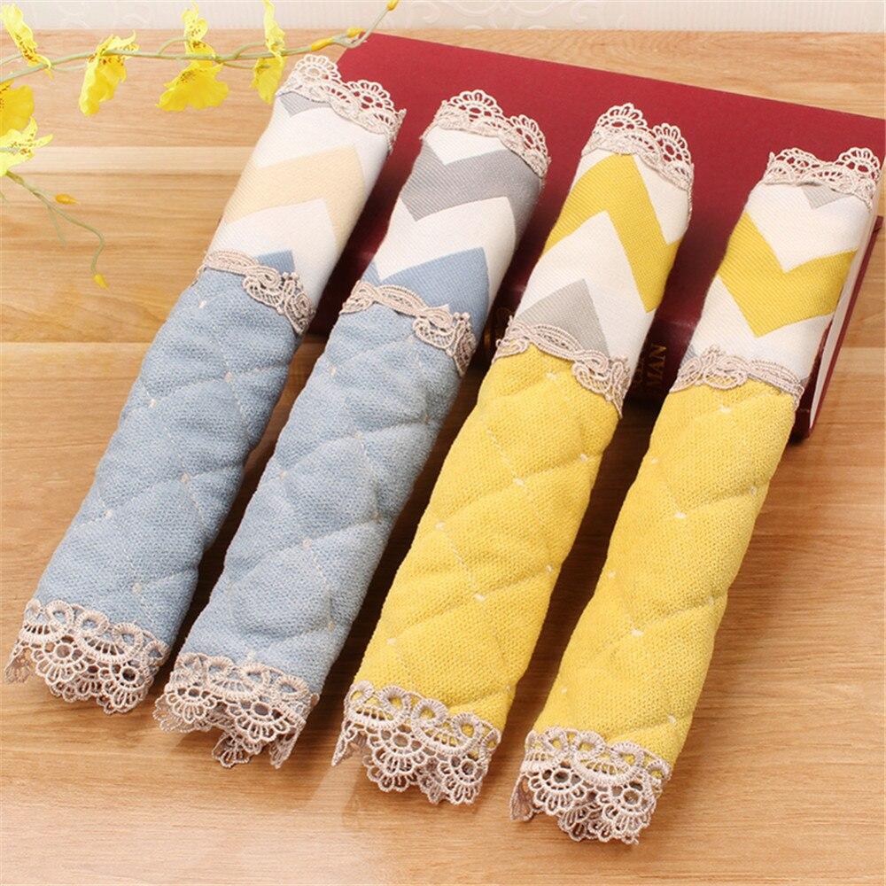 Cubiertas de alta calidad para manija de la puerta del refrigerador cubiertas de encaje bordado abrigo de mango nevera soporte para puerta cubiertas de manija