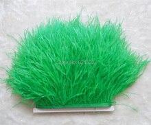 10 yards/lot Grass Green/Dark Green ostrich feather trimming fringe on Satin Header 5-6inch in width for Wedding Dress