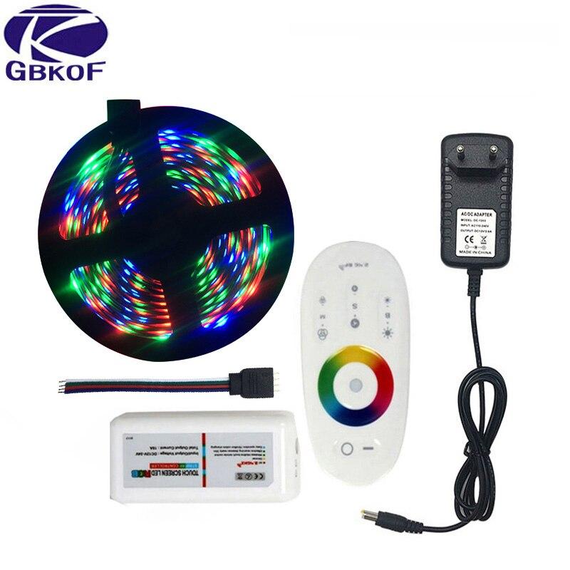 20M 15M 10M 5M RGB LED tira de luces 3528 no impermeable SMD Flexible RGB cinta conjunto de cintas + controlador MiLight + DC 12V fuente de alimentación
