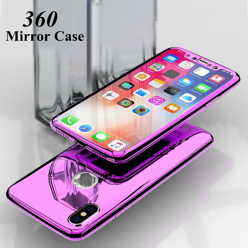 360 caso espelho completo para iphone xr 6 s 6 s plus iphone xs 11pro max luxo capa para iphone 8 7 plus iphone 11pro 10 casos