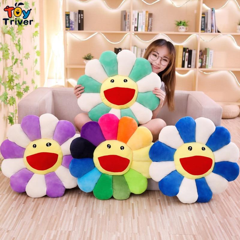 Smile Sun Flower Sunflower Plush Toy Stuffed Doll Cat Pet Cushion Mat Pillow Home Bedroom Car Shop Restaurant Decor Girl Gift